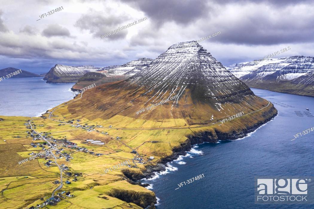 Stock Photo: Aerial view of Vidareidi and Vidoy Island (Vidoy island, Faroe Islands, Denmark).