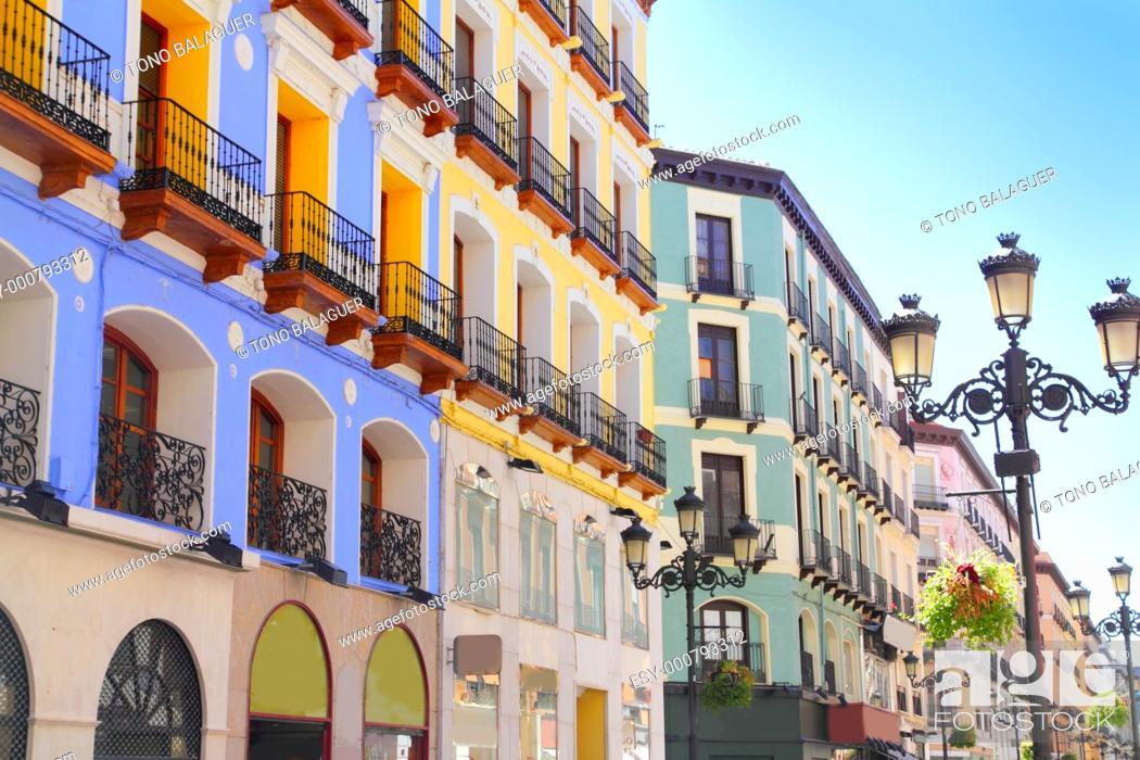 Photo de stock: Zaragoza city Spain Alfonso I street coloful building facades.