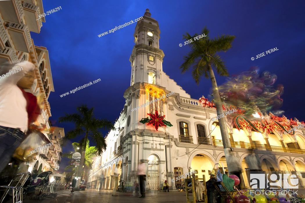 Stock Photo: Christmas decorations, Town Hall or Municipal Palace of Veracruz, Palacio Municipal, Main Square, Zocalo, Veracruz City, Heroica Veracruz, State of Veracruz.