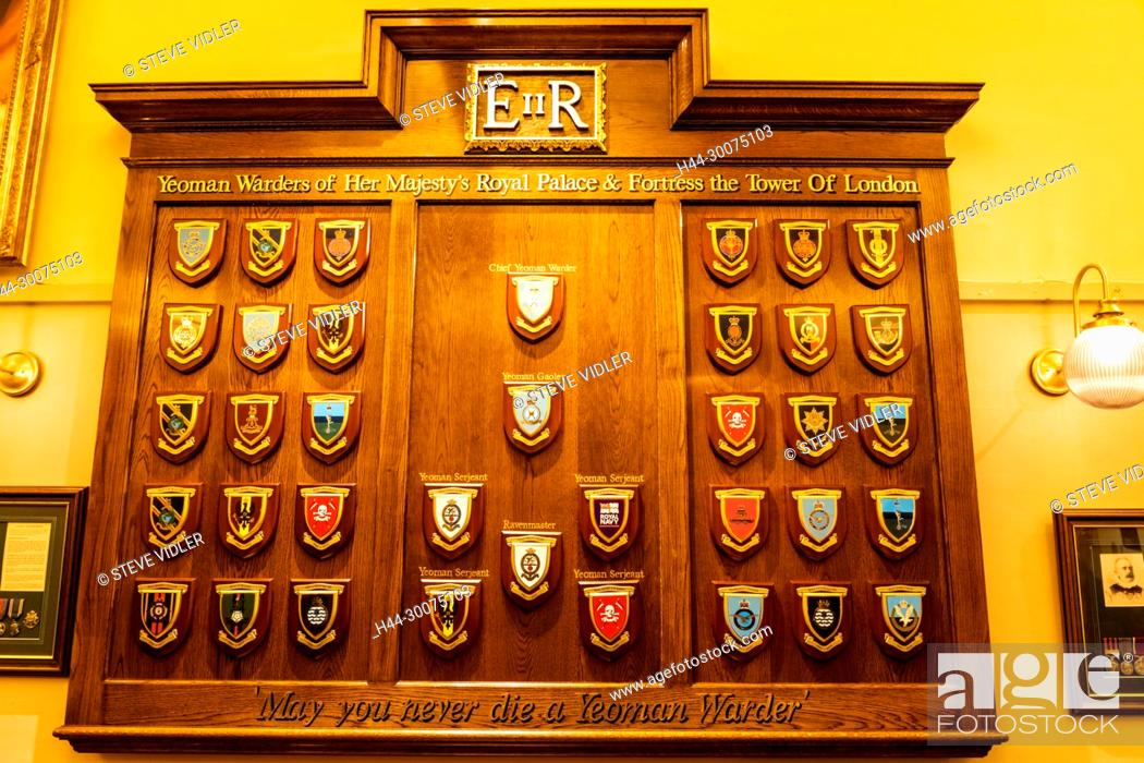 Stock Photo: England, London, Tower of London, The Keys Pub, Display of Yeoman Warders Coat of Arms.