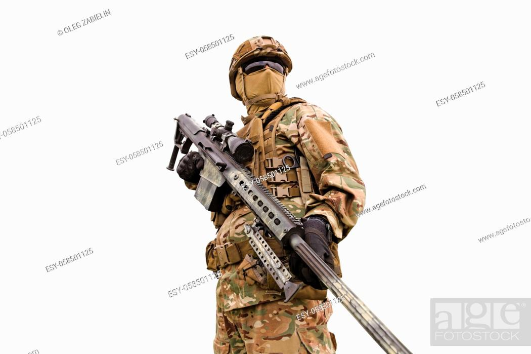 Imagen: Armored special forses sniper with rifle isolated on white background.