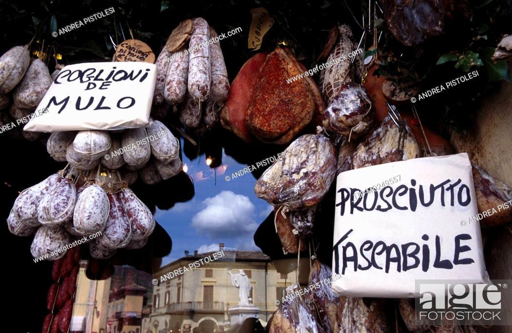 Stock Photo: Umbria, Norcia, food shop.