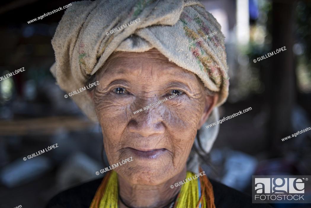 Stock Photo: Portrait of an elder hilltribe woman near Pai, Thailand.