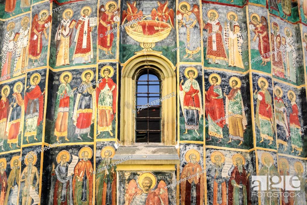 Stock Photo: Frescoes of the painted monasteries of Sucevita, Bucovina, Romania, Europe.