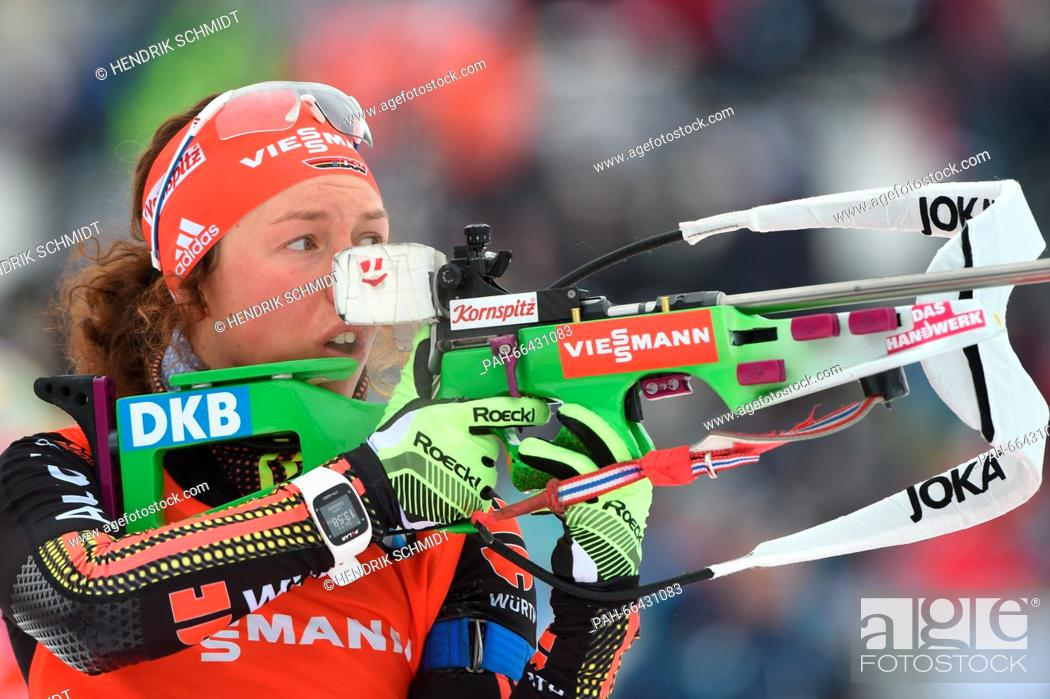 Stock Photo: Laura Dahlmeier of Germany at the shooting range during the sprint competition at the Biathlon World Championships, in the Holmenkollen Ski Arena, Oslo, Norway.