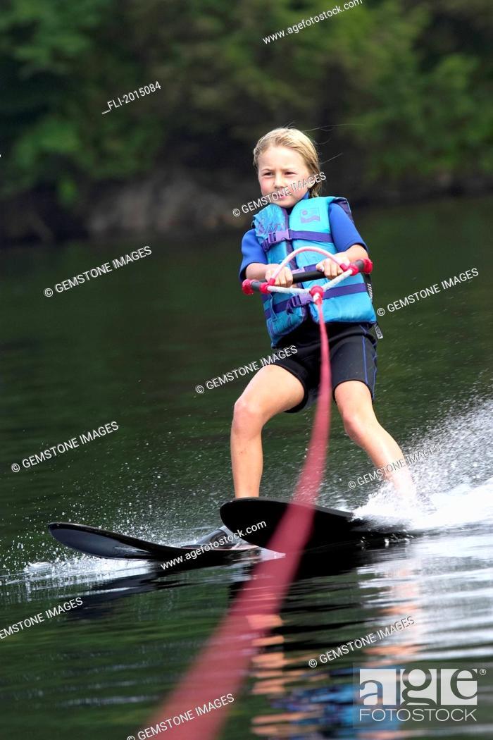 Stock Photo: Girl Water Skiing, Ontario.