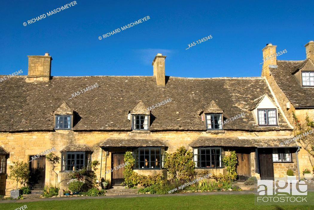 Classic houses, Stanton, Cotswolds, England, UK, Stock Photo