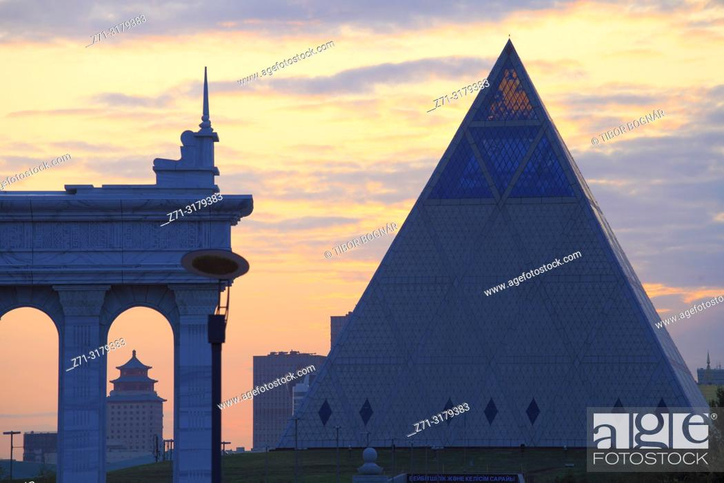 Stock Photo: Kazakhstan; Astana; Palace of Peace and Reconciliation,.