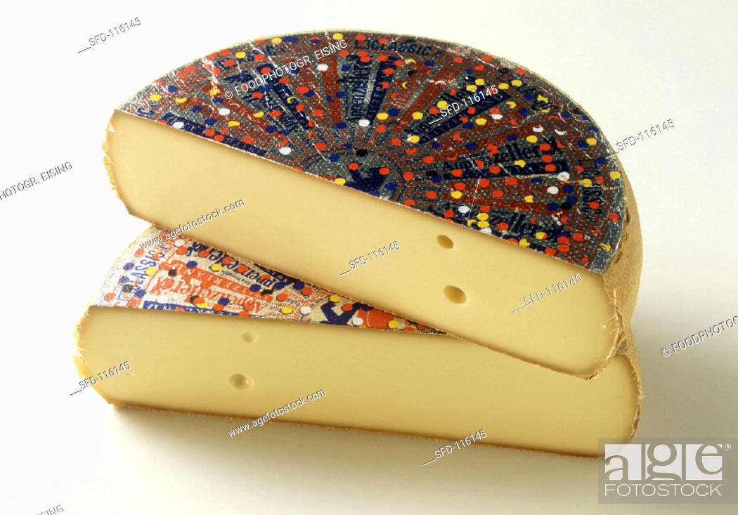 Two Halves Of Appenzeller Cheese Stock Photo Picture And