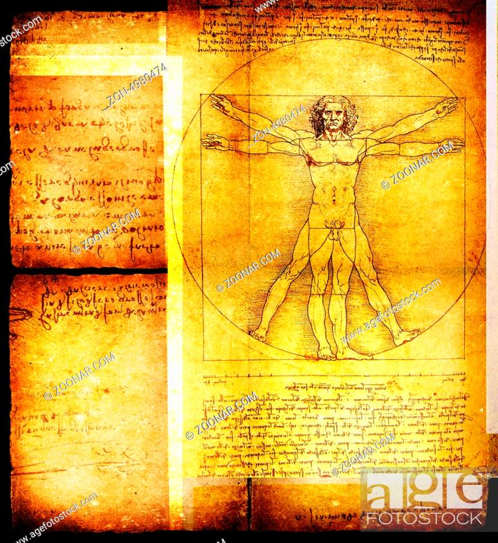 Imagen: Photo of the Vitruvian Man by Leonardo Da Vinci from 1492 on textured background.