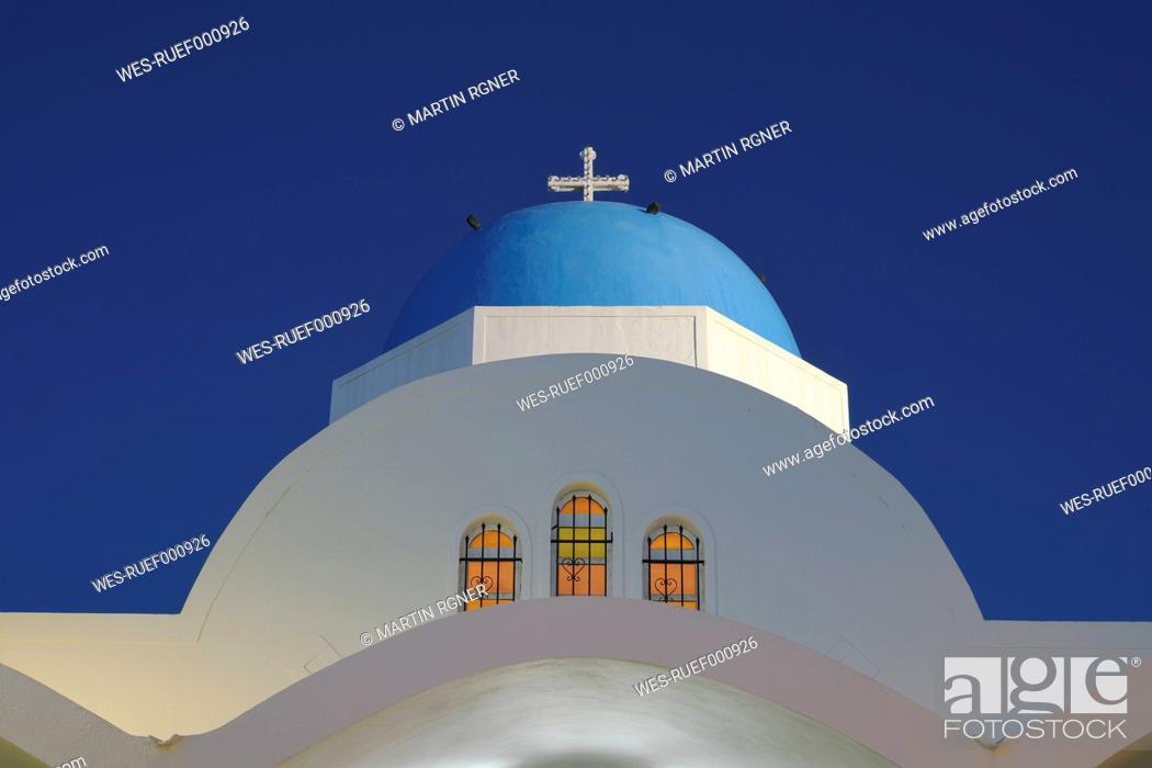 Stock Photo: Greece, View of Firostefani church.