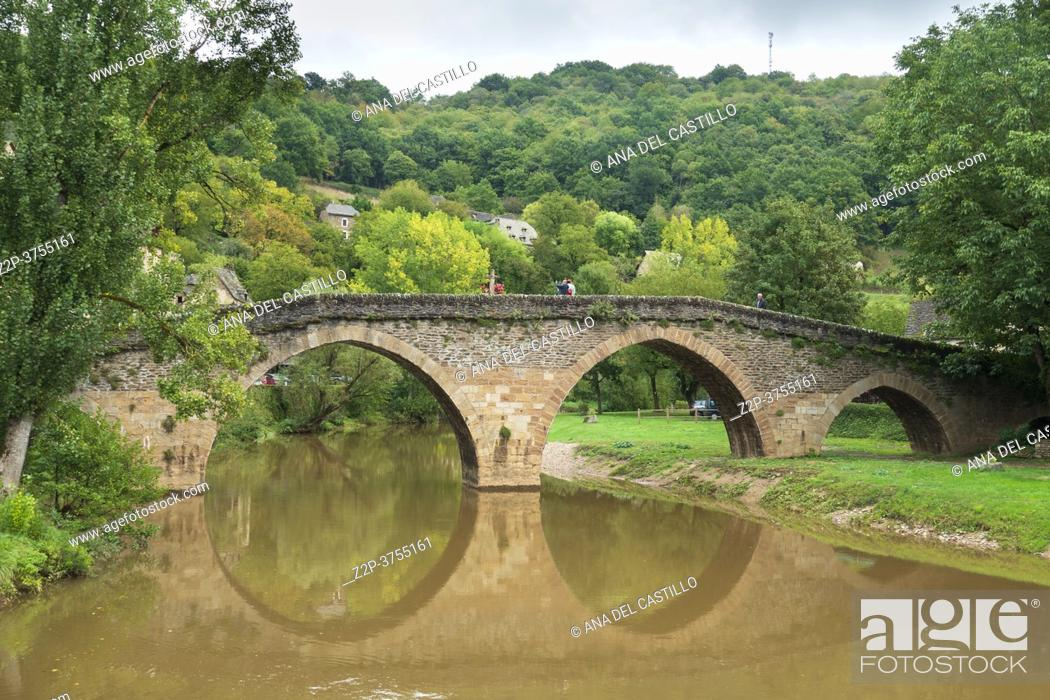 Stock Photo: Belcastel medieval castle and town in the south of France, Aveyron Occitania on September 24, 2020 nice view of the antique medieval bridge over Aveyron river.