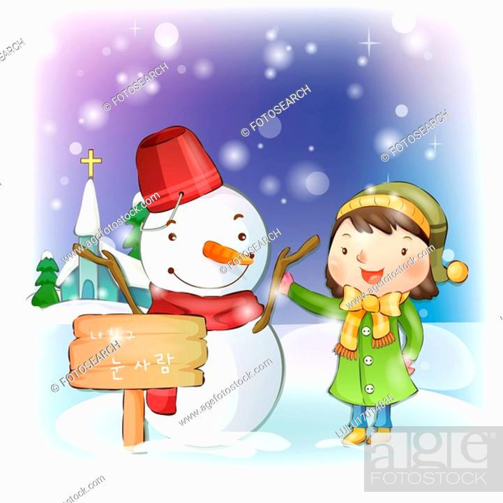 Stock Photo: smiling, snow, snowman, girl, chirstmas, winter.