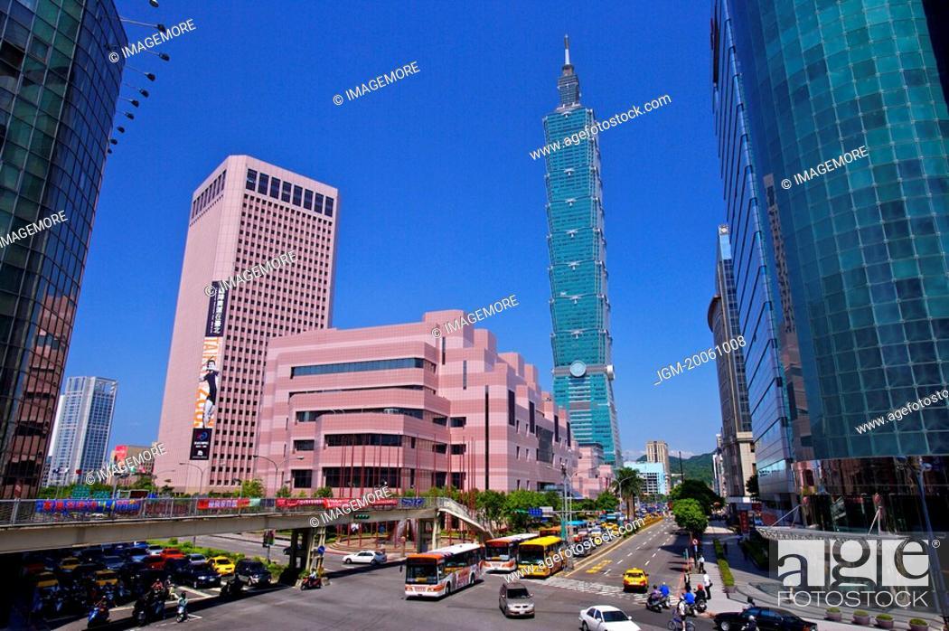 Stock Photo: Taiwan, Taipei, Taipei 101, Xinyi Commercial Center, Taipei World Trade Center.