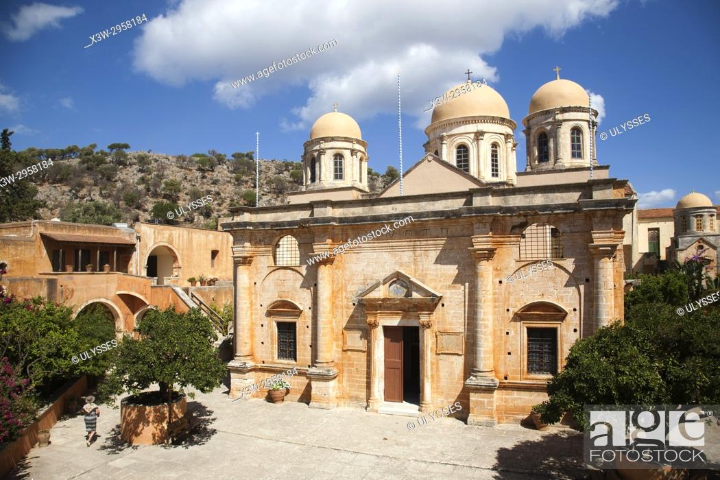 Stock Photo: Agias Triada Monastery or Monastery of Agia Triada Tsangarolon, Akrotiti peninsula, Crete island, Greece, Europe.