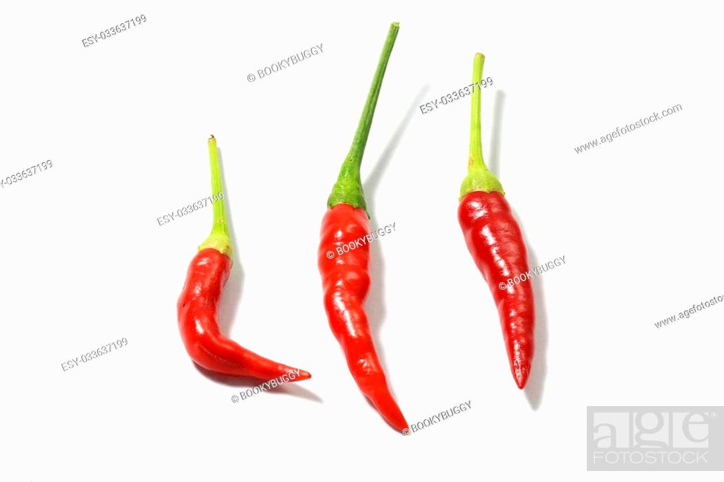 Stock Photo: red hot chili pepper isolated on a white background.