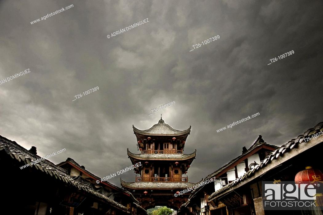 Stock Photo: view of a tibetian temple. West China.