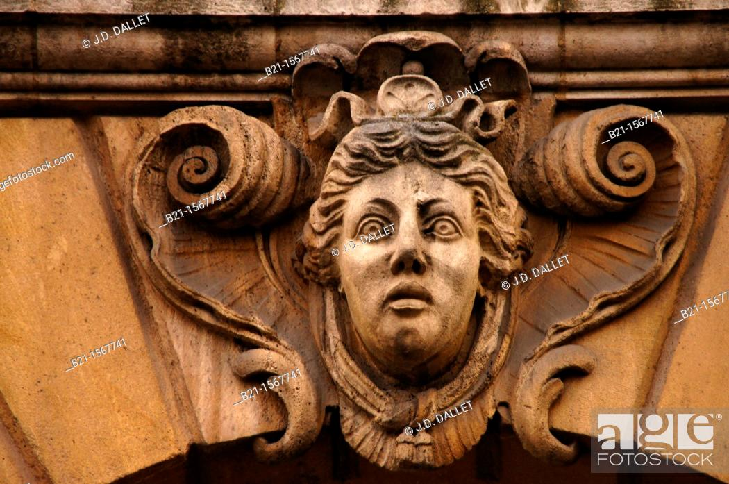 Stock Photo: One of the famed 'mascaron' on a building at Bordeaux, Gironde, Aquitaine, France.