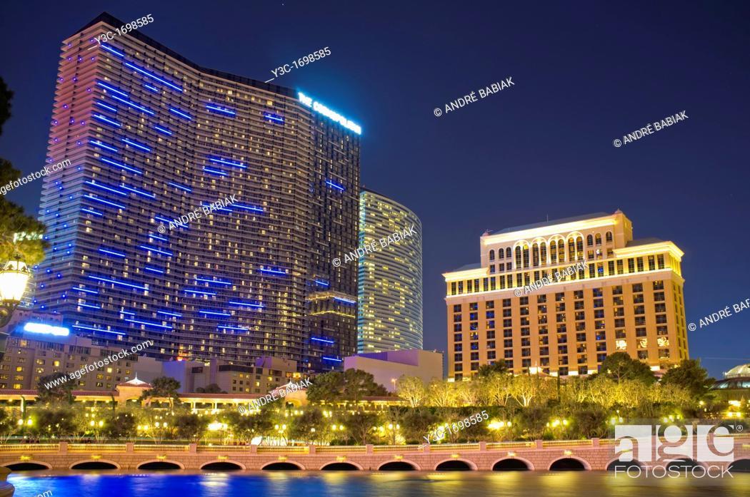 Stock Photo: The Cosmopolitan and Vdara Hotel as seen from Las Vegas Boulevard.