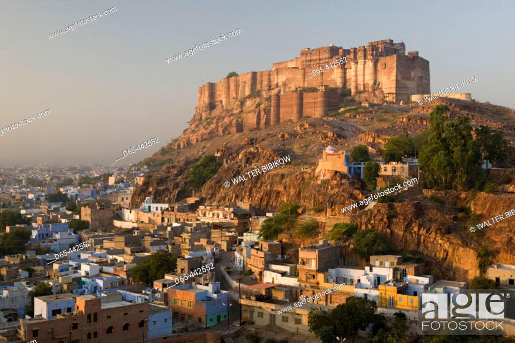 Stock Photo: Meherangarh Fort & Town. Morning. Jodhpur. Rajasthan. India.