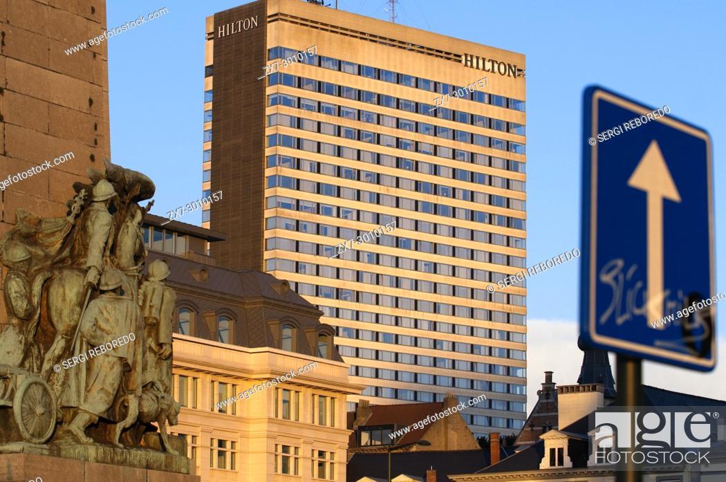 Stock Photo: Hilton Brussels City main building, Brussels, Belgium.