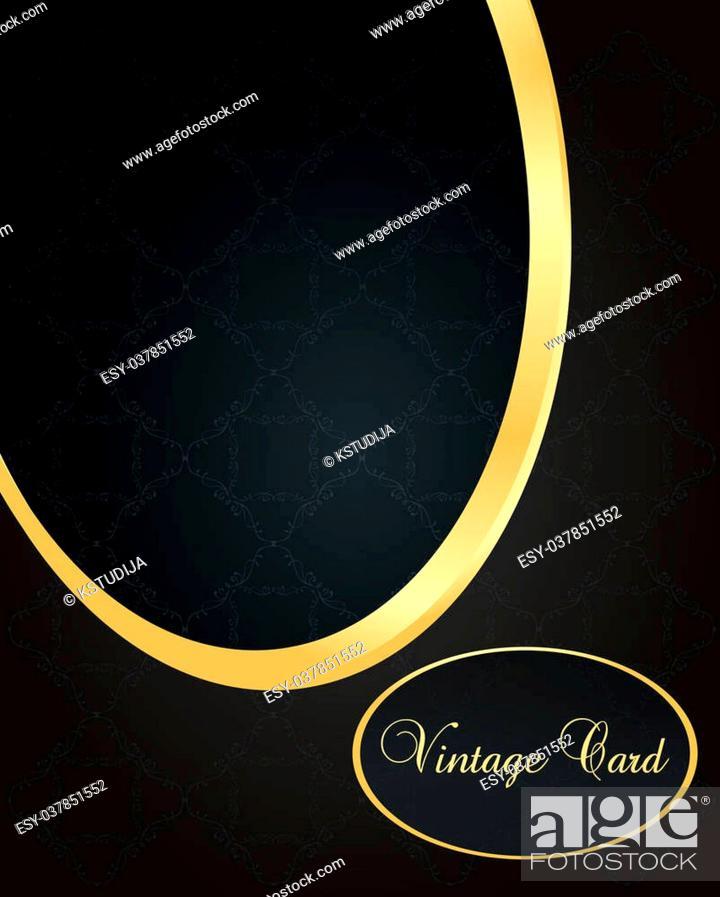 Stock Vector: Luxury golden vintage background elements.
