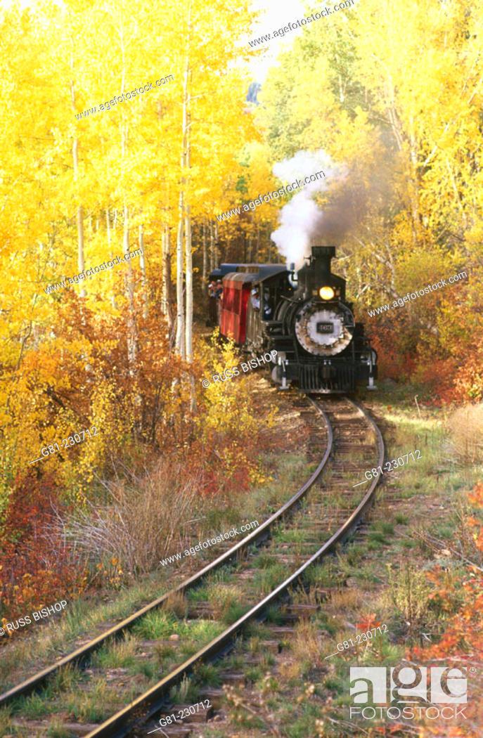 Stock Photo: Railroad steam train winding through fall aspens near Chama. Cumbres & Toltec Scenic Railroad. New Mexico. USA.