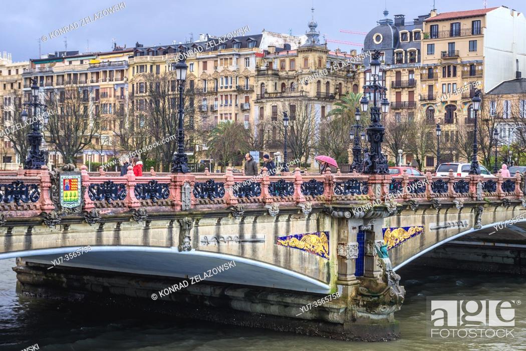 Stock Photo: Maria Cristina Bridge in San Sebastian coastal city located in the Basque Autonomous Community, Spain.