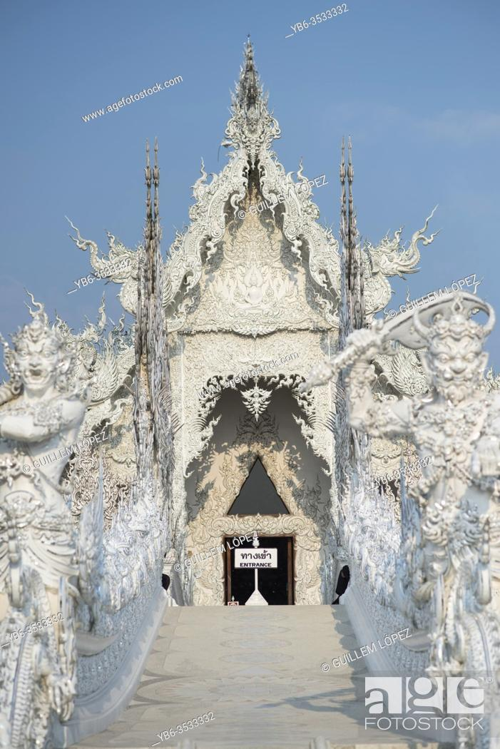 Stock Photo: The White temple of Wat Rong Khun in Chiang Rai, Thailand.