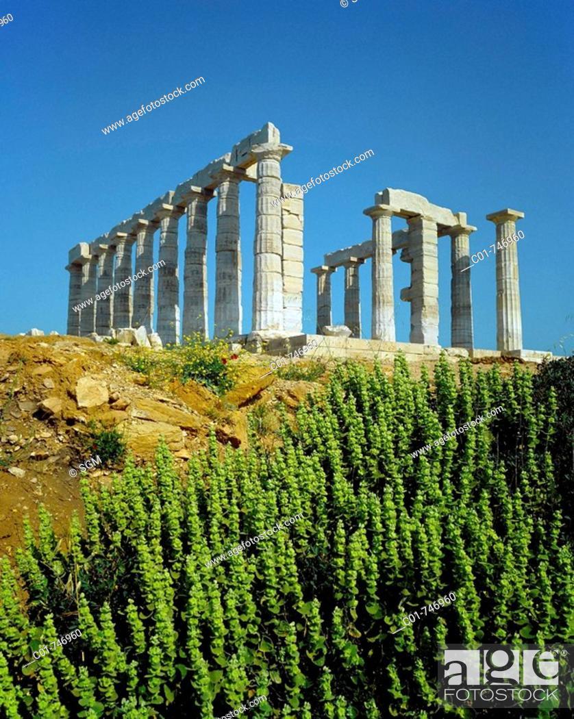 Stock Photo: Doric temple of Poseidon at Cape Sounion, Attica, Greece.
