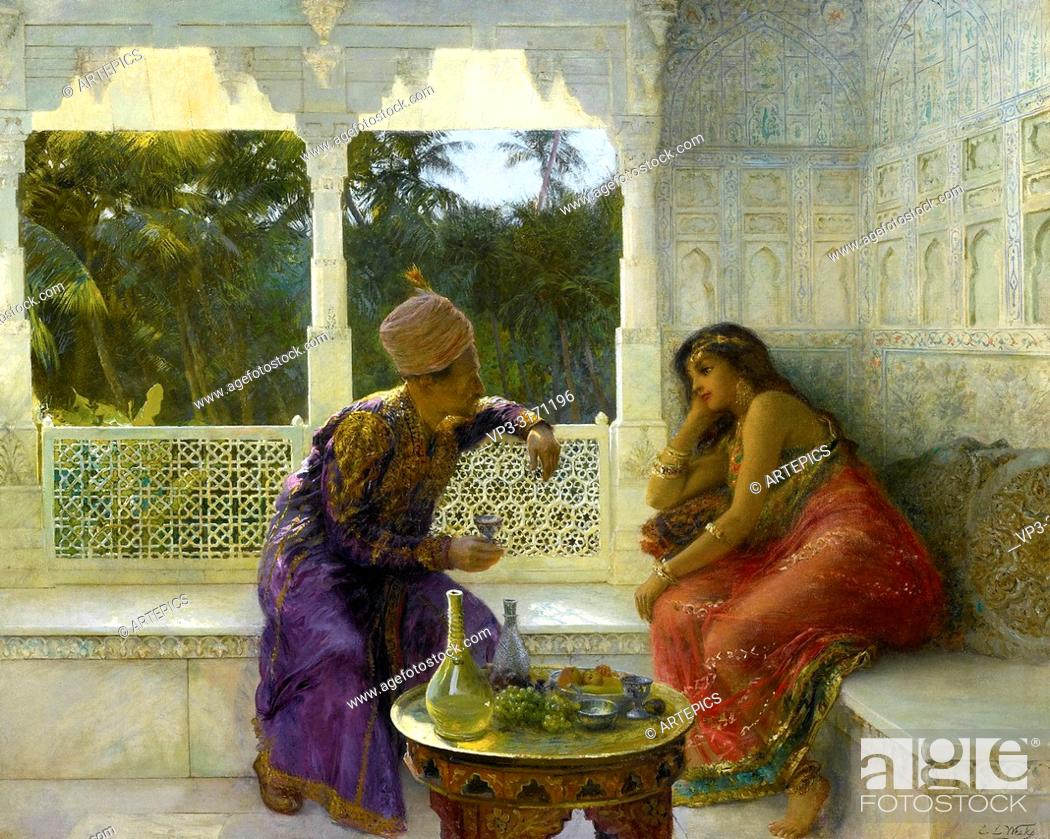 Stock Photo: Weeks Edwin Lord - Figures in an Interior with Garden of Palms Beyond.
