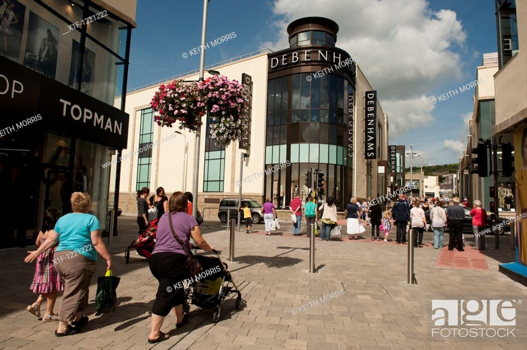 Stock Photo: Debenhams store - Carmarthen town centre redevelopment, Wales UK.