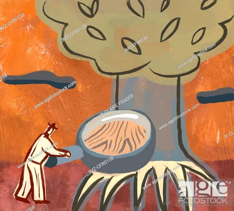 Stock Photo: An illustration of a man studying the roots of a tree.
