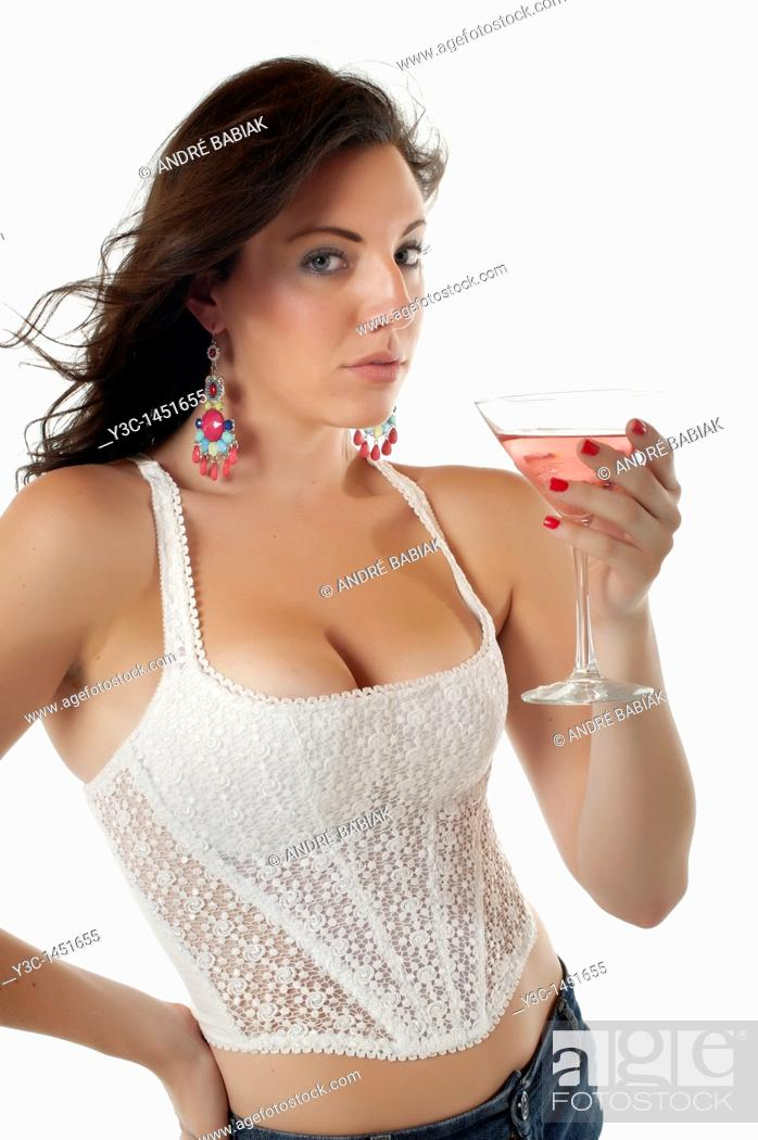 Stock Photo: Attractive woman in corset holding cocktail glass.