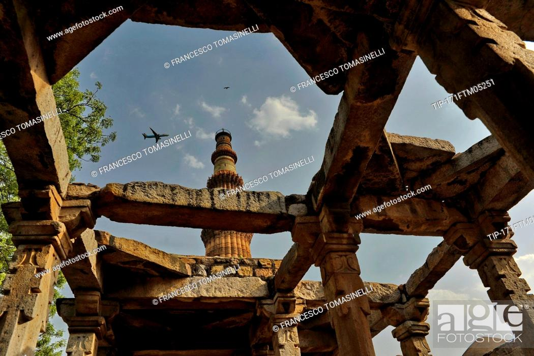 Stock Photo: India, New Delhi, Qutub Minar,UNESCO world Heritage.