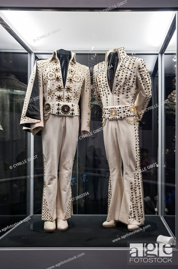 Stock Photo: Elvis suits on display at Graceland, Memphis, Tennessee, USA.
