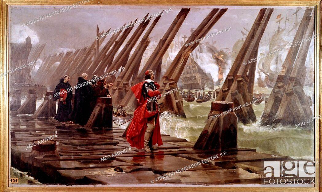 Imagen: Cardinal Richelieu at the Siege of La Rochelle (Le cardinal de Richelieu au siège de La Rochelle), by Henri-Paul Motte, 1881, 19th Century.