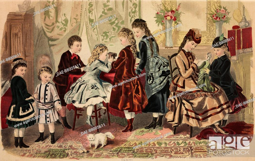 Imagen: Different styles and colours of childrens' clothes, Magasins du Louvre models, Paris, France, coloured engraving from La Mode Illustree, No 50, December 12.