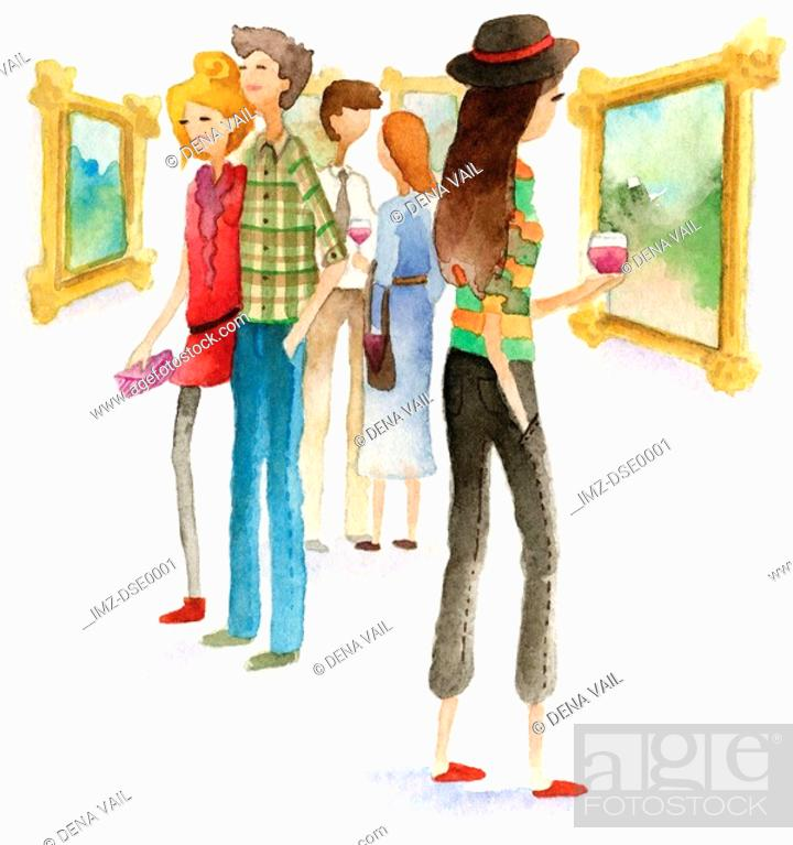 Stock Photo: A watercolor illustration of people at an art opening.
