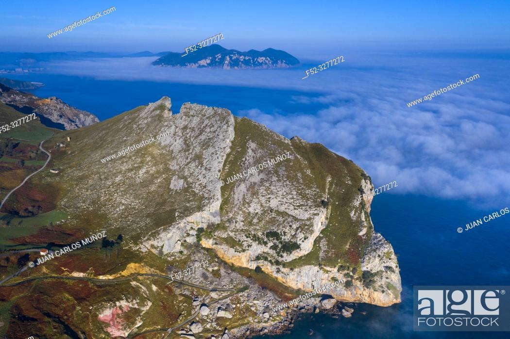 Stock Photo: Aerial view, Liendo, Cantabrian Sea, Liendo Valley, Cantabria, Spain, Europe.