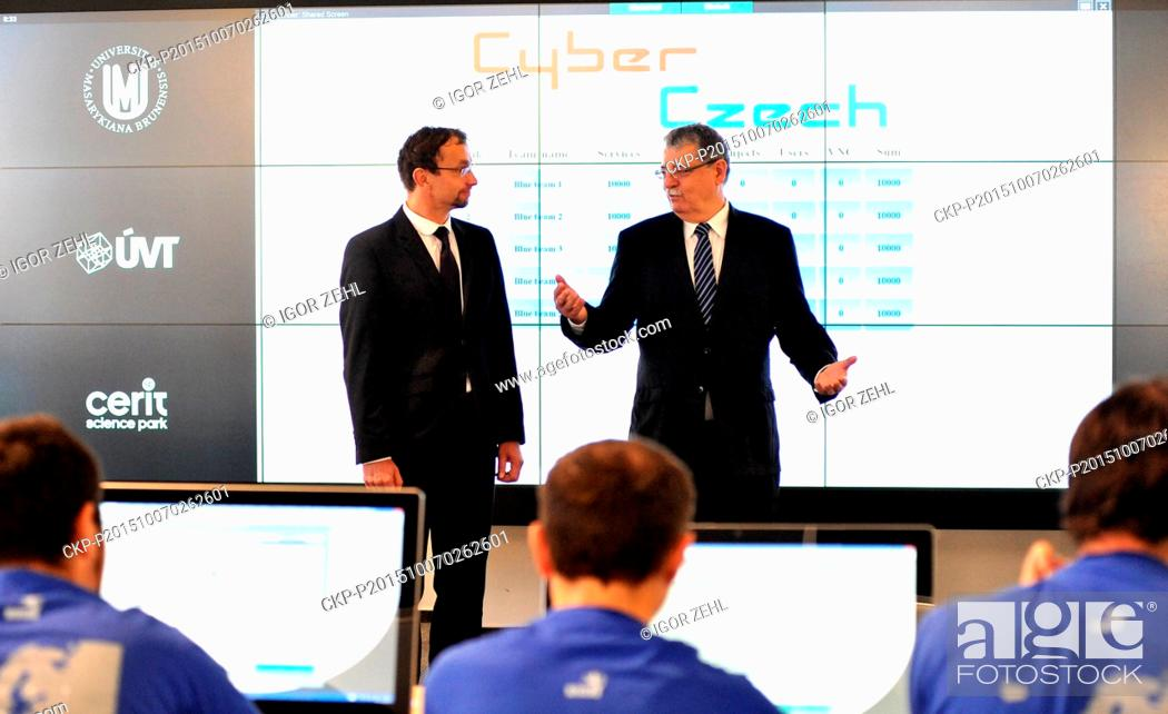 Stock Photo: The first national cyber exercise Cyber Czech 2015 involving employees from crucial ministries and other offices and focusing on defence of fictitious energy.