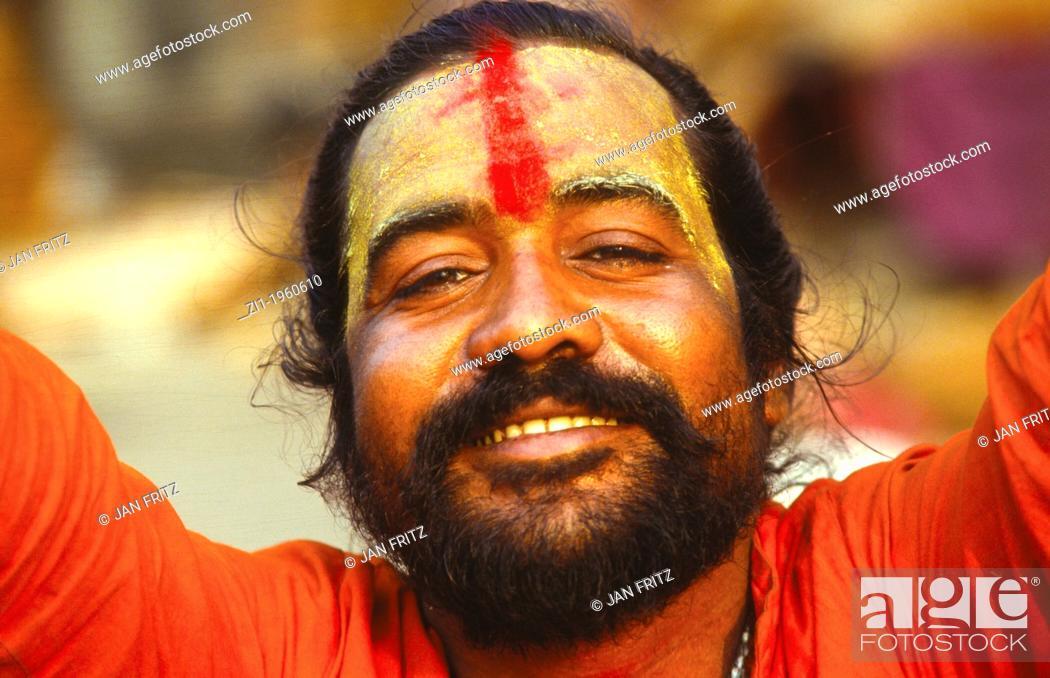 Photo de stock: portrait of sadhu or holyman at Calcutta, India.