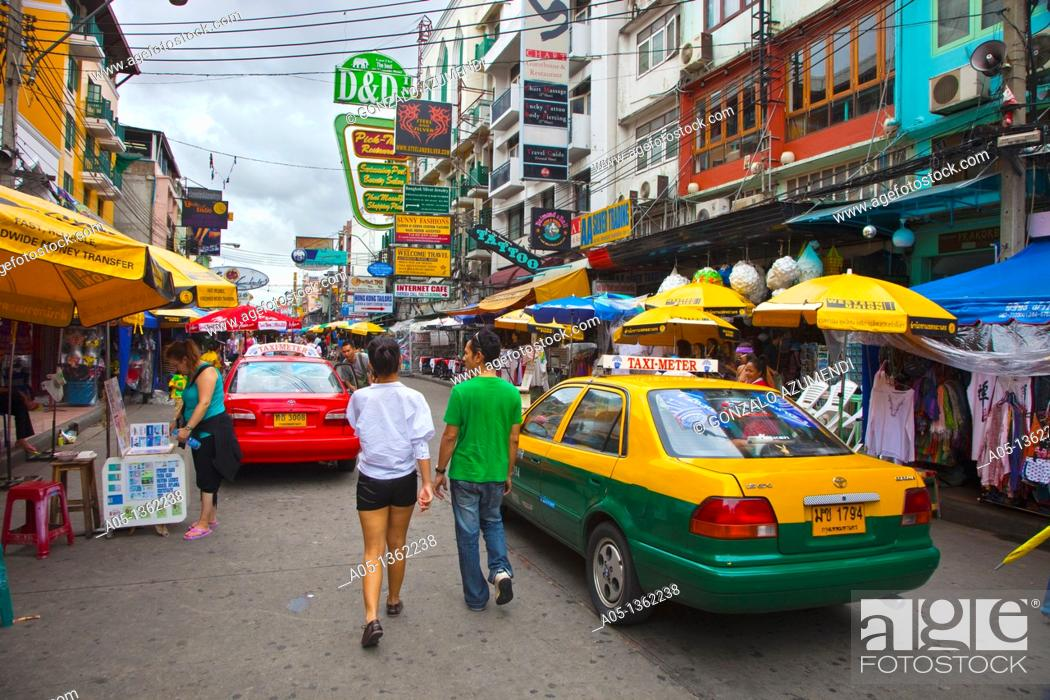 Stock Photo: Street with backpackers and young travelers  Khao San Road  Bangkok  Thailand  Southeast Asia  Asia.