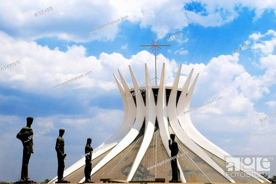 Stock Photo: Statues in front of the cathedral designed by architect Oscar Niemeyer. Brasilia. Brazil.