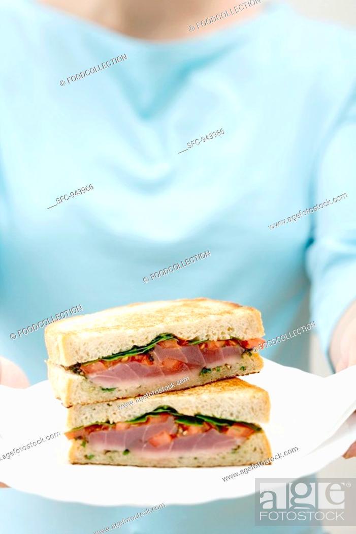 Stock Photo: Two tuna sandwiches.