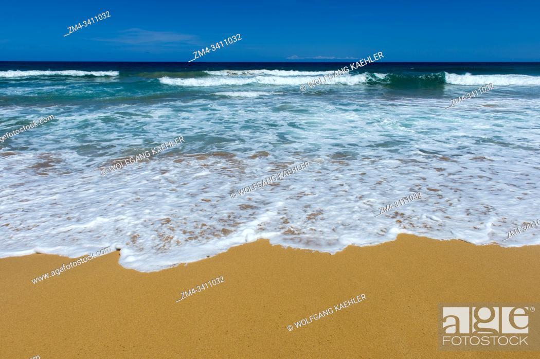 Stock Photo: View of the white sand beach at Kealia Beach Park near Kaapa on the eastern side of the Hawaiian Island of Kauai, Hawaii, USA.