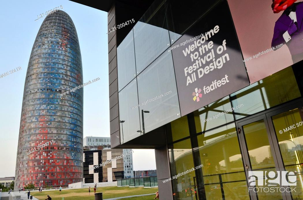 Stock Photo: Right: Disseny Hub Barcelona, Design Hub Barcelona, DHUB, made by MBM Arquitectes. Left: Agbar Tower designed by French architect Jean Nouvel.