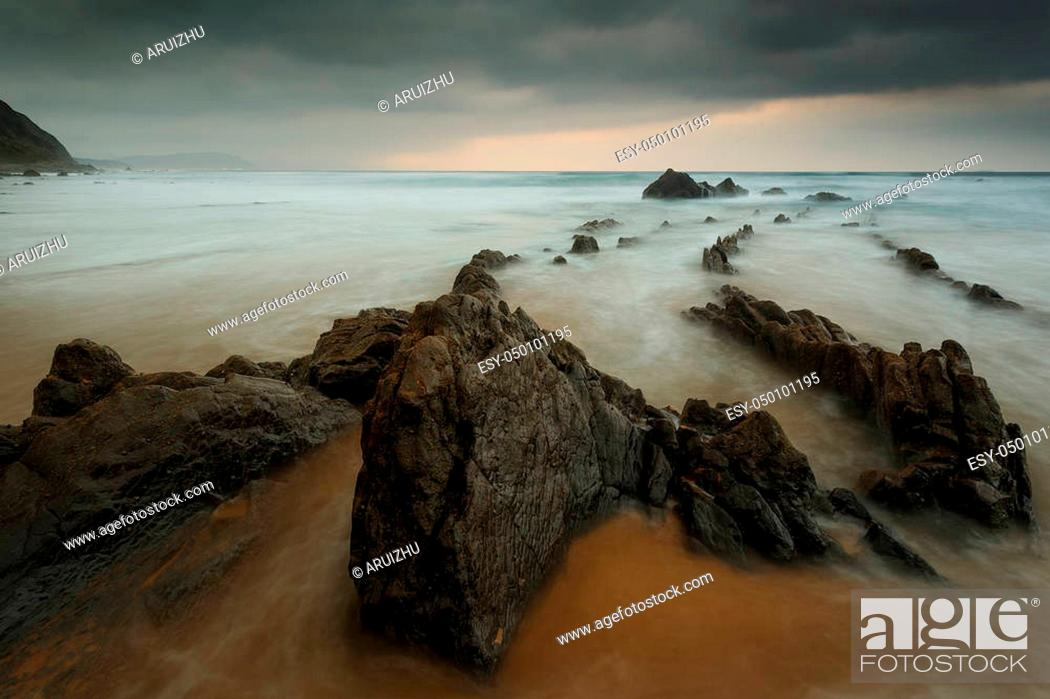 Stock Photo: Sunset at barrika beach.