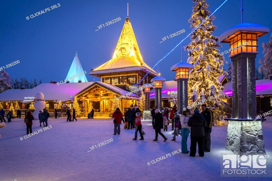 Stock Photo: People in front of Santa Claus Office, Santa Claus Village, Rovaniemi, Lapland, Finland, Europe.