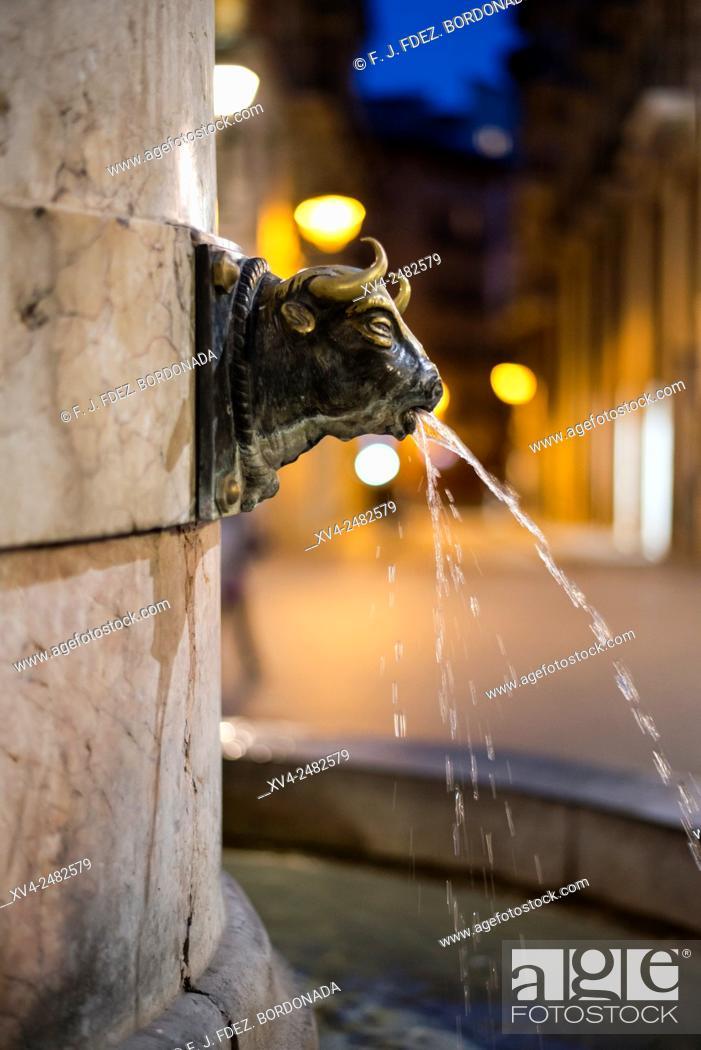 Stock Photo: Plaza del Torico by night, Teruel, Aragon, Spain.